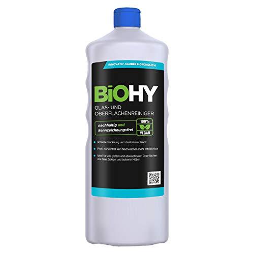 BIOHY Glas- und Oberflächenreiniger 1 Liter Flasche | Streifenfreier Bio Reiniger