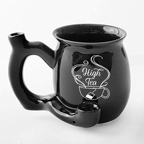 FASHIONCRAFT 82374 High Tea Single Wall Mug, Shiny Black with White Imprint, Ceramic Coffee Mug