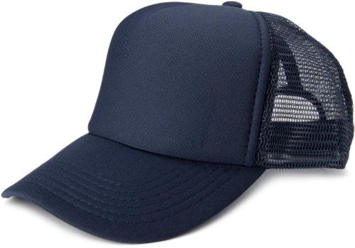 styleBREAKER Gorra de Malla de 5 Paneles, Gorra de Camionero, Gorra de béisbol, Ajustable, Unisex 04023007, Color:Azul Marino