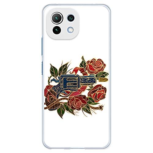 Funda Transparente para [ Xiaomi Mi 11 Lite 4G/5G ], Carcasa de Silicona Flexible TPU, diseño: Pistola Revolver con Rosas