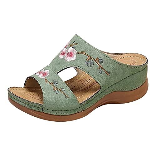 Sandalias de cuña vintage bordadas con flores, sandalias de cuña vintage 2021, sandalias de cuña vintage para mujer, sandalias antideslizantes para sandalias de estilo étnico