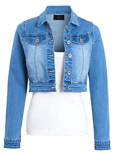 SS7 Womens Crop Stretch Fitted Denim Jacket