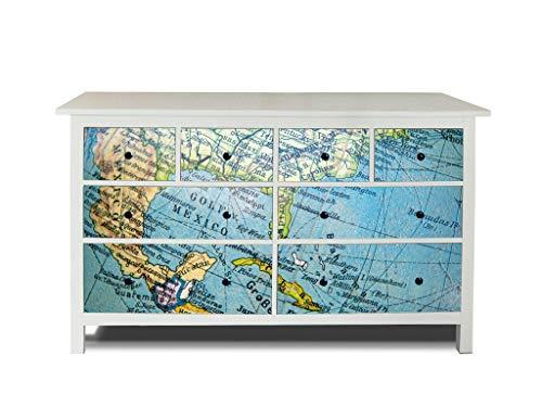 banjado Möbelaufkleber passend für IKEA Hemnes Kommode 8 Schubladen   Selbstklebende Möbelfolie   Sticker Tattoo perfekt für Wohnzimmer und Kinderzimmer   Klebefolie Motiv Globus