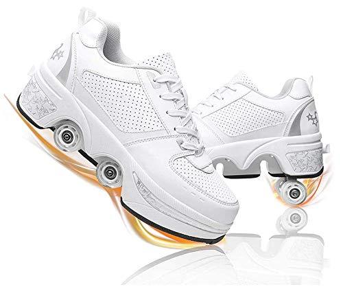 Zapatos con Ruedas para Niños Y Niña, Zapatos Multiusos 2 En 1 Patines Zapatillas Deportes Al Aire Libre De Deporte,White Silver,39