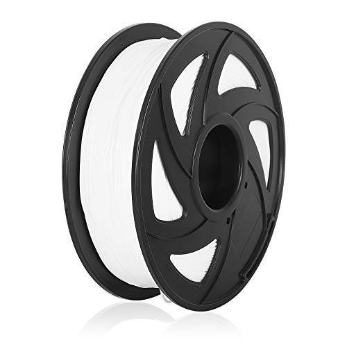 TPU 3D Printer Filament Flexible Filament 1.75mm 1kg 2.2lb Spool, Dimensional Accuracy +/- 0.02 mm, Fit Most FDM Printers Pack of 1 (White)