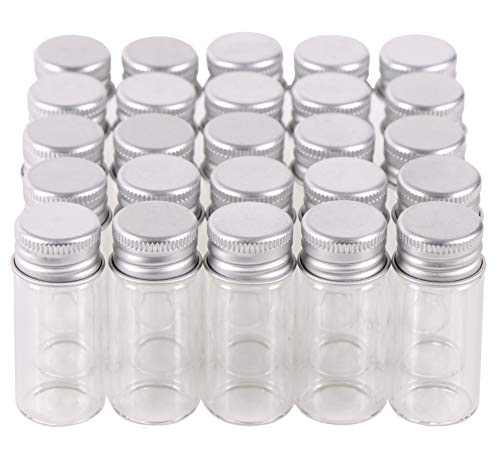 MaxMau 100 10ml Vials Small Mini Tiny Glass Bottles Clear Empty Jars with Aluminum Top Screw Lids Message Sample Bottle Wedding Favors Decorations DIY Jewelry Accessories Liquid Hold Storage