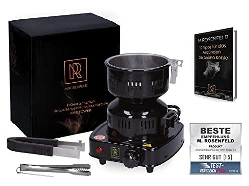 M. ROSENFELD Allume charbon chicha électrique – FIRE Tower 3.0 plaque chauffante chicha avec câble à 150 cm de longueur, un panier mobile et 2 pinces (Noir)