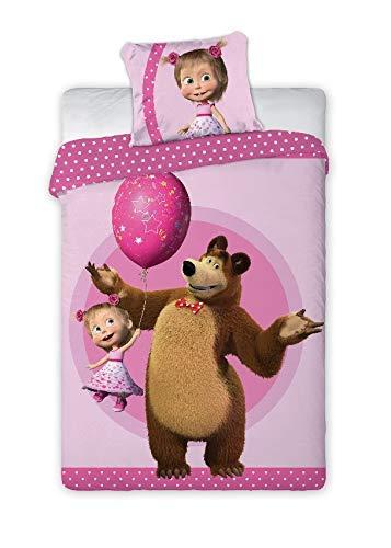 027 Masha and the Bear Kinderbettwäsche/Babybettwäsche, ·Wendebettwäsche ·Kissenbezug 40x60 + Bettbezug 100x135 cm - Reißverschluss - 100% Baumwolle Oeko-TEX