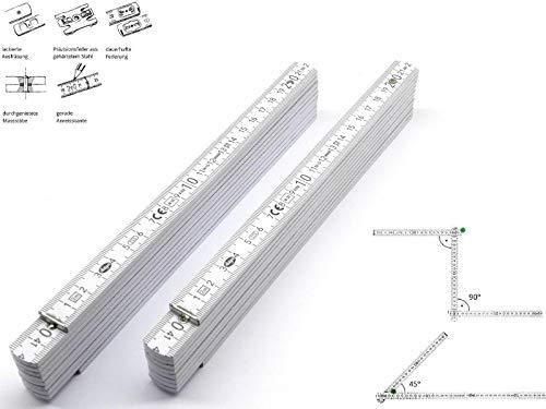 2 Stk. Adga 250 plus Qualitäts Meterstab weiss 2m Holz Winkelübersicht 90 180 Grad Rastung gerade Anreißkante