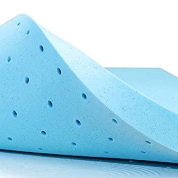 subrtex 4 Inch Memory Foam Mattress Topper Ventilated Gel Infused Bed Foam Topper for Pressure Relieving CertiPUR-US Certified Queen Blue