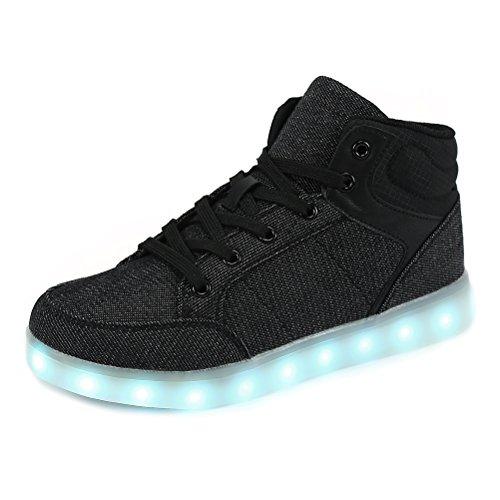 Dannto Kinder Leuchtende Blinkschuhe Turnschuhe Farbe USB Aufladen LED Licht Kinderschuhe Sportschuhe Hoch Oben Lässige Mode Sneakers für Jungen Mädchen(schwarz,35)