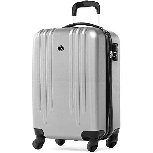FERGÉ Trolley bagaglio a mano Marseille - Valigia rigida 55 cm valigetta bagaglio cabina 4 ruote argento