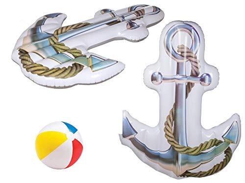 Bavaria Home Style Collection Aufblasbare Luftmatratze Maritim XL Anker Pool Schwimminsel Badematratze Schwimmen Floß ausgefallene Matratze geeignet auch für Maritime Deko