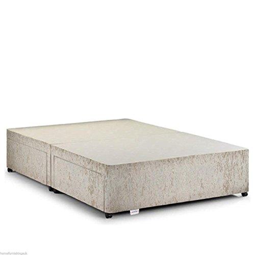 Home Furnishings UK Hf4you Crushed Velvet Fabric Divan Bed Base - 4FT6 Double - Cream - 4 Drawers - No Headboard