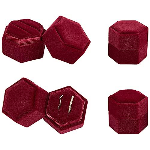 NBEADS 4 cajas para anillos de terciopelo, anillo hexagonal, caja de regalo, joyero para boda, compromiso, cumpleaños y aniversario, color rojo y morado medio