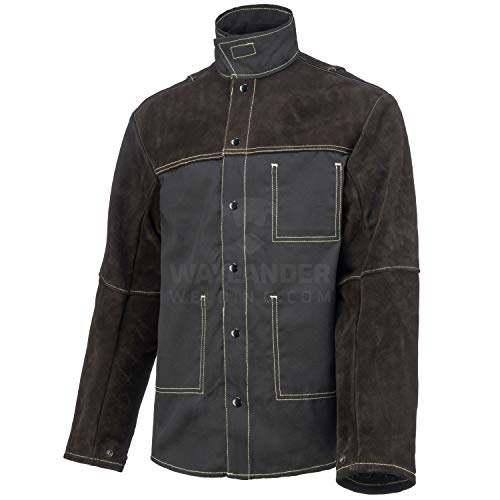 Product Image of the Waylander Welding Jacket Made with Genuine Split Cowhide Leather and Breathable Flame Resistant Cotton; Durable and Lightweight Leather Welding Jacket with Flexible Lined Welding Sleeves M