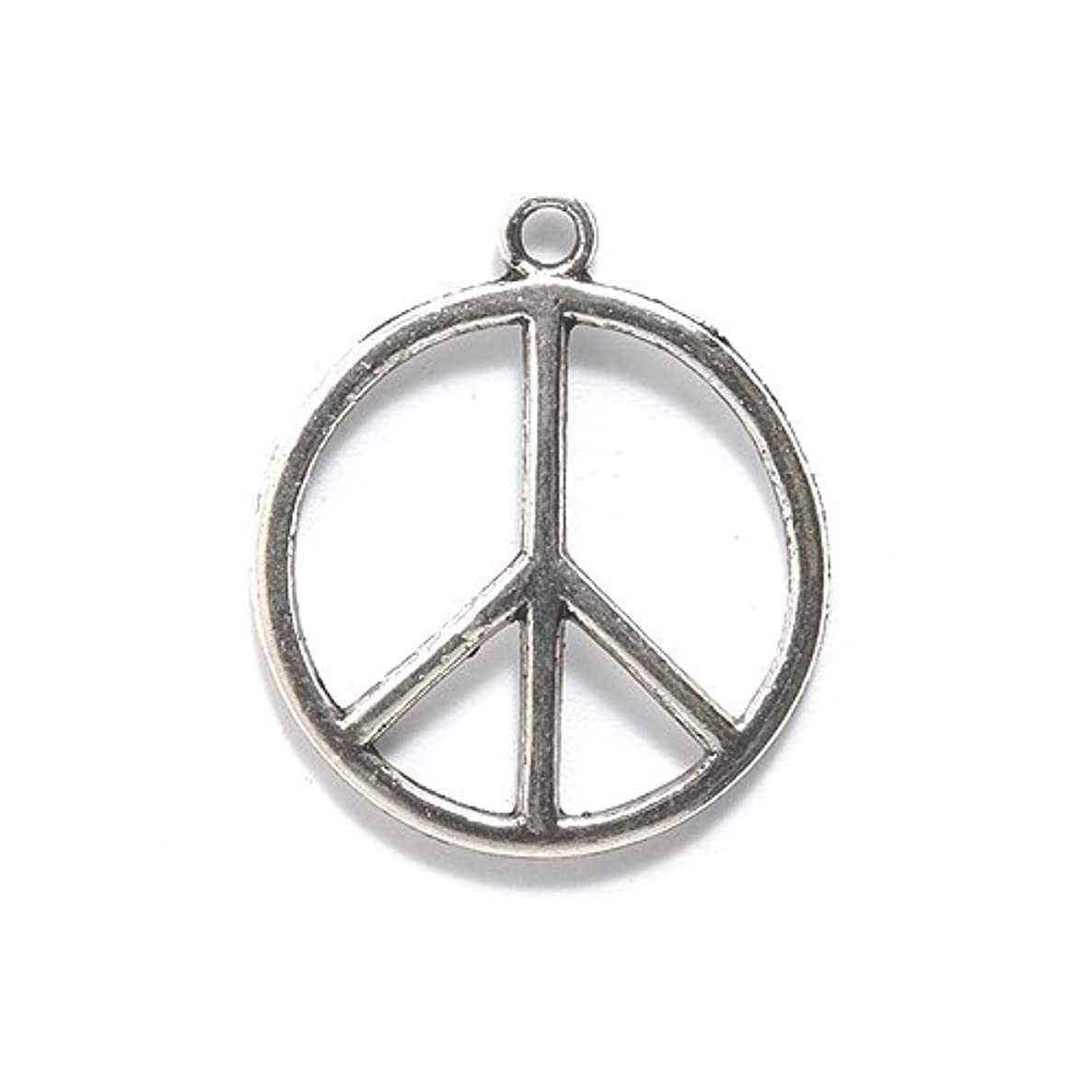 Shipwreck Beads Zinc Alloy Peace Sign Pendant, 25mm, Silver, 36-Pack