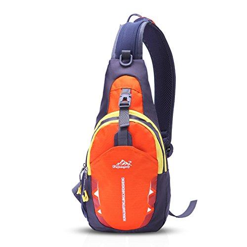 FANDARE Brusttasche Sling Bag Ultralight Daypacks Crossover Rucksack Umhängetasche Schultertasche Reiserucksack Crossbody Bag zum Sport Reisen Joggen Hiking Crossbody Bag Polyester Gelb
