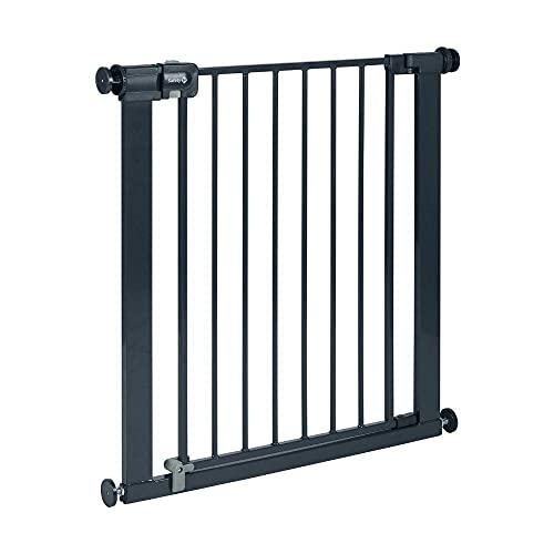 Safety 1st Easy Close Metal - Barrera de seguridad bebés, niños y perros, metálica para puertas y escaleras, puerta de seguridad 80 cm hasta 136 cm con extensiones, color negro