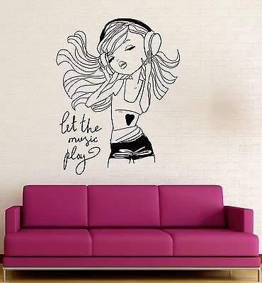 V-studios Teen Girl Music Headphones Room Decoration Wall Stickers Vinyl Decal VS121