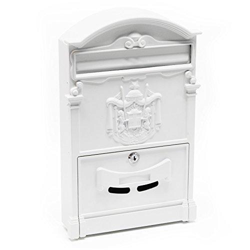 Briefkastenanlage im antik Design Weiß Wandbriefkasten Letterbox Postkasten