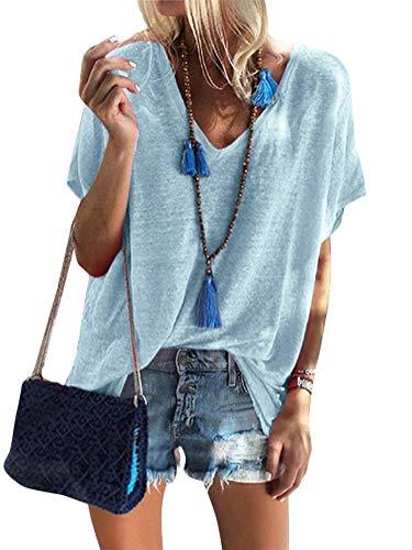 Damen Sommer Kurzarm Blusen T-Shirt V-Ausschnitte Loose Oversize Shirt Oberteile (42, Blau)