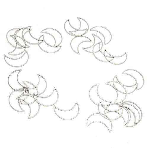 Bisel abierto de metal, exquisita joyería en forma de luna, marco hueco para bricolaje, práctico para hacer manualidades para niñas y amantes de la artesanía(Pequeño * 30)