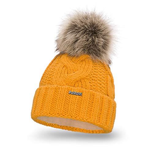 PaMaMi Damen Strickmütze mit Webpelz-Bommel   Honig   85% Acryl und 15% Polyamid   Gr. 55-58 cm   Gefüttert, in Strickoptik   Feminine, sehr warme Winter-Mütze mit flauschigem Futter