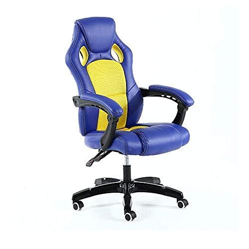 N&O Renovation House Gaming Ergonomischer Computertisch aus Pu-Leder mit hoher Rückenlehne und höhenverstellbaren Armlehnen Blau