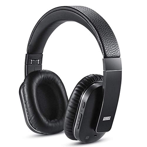 Bluetooth Wireless Headphones with ANC - August EP750 - Active Noise Cancelling Headset for Laptops/Smartphones/Tablets - Reduce Air Travel Engine Noise