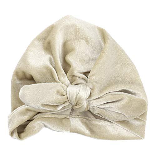 GREEN&RARE Gorro turbante de tela plisada para bebé recién nacido, color sólido, gorro con nudo fruncido, elástico para orejas de conejo, para playa, viajes, senderismo