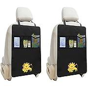 Zuoao 2 Stück Auto-Rückenlehnenschutz, Rückenlehnen Tasche Trittschutz mit Rücksitz-Organizer,Kinder Rücksitzschoner Kick-Matten-Schutz passend für die meisten den Autositz Schwarz