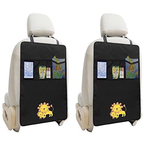 2 x Trittmatten, Auto-Organizer, wasserdicht, Auto-Rücksitz-Protektoren mit Mehrzweck-Aufbewahrungstasche, Organizer für iPad Mini, Buch, Spielzeug, Löwen-Design, Schwarz