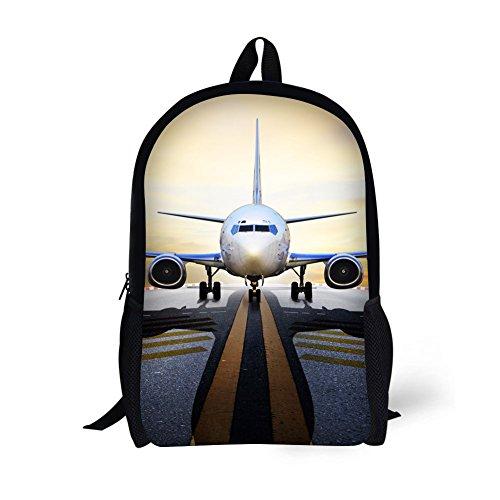 "Students Backpack,17"" Bookbag 3D Airplane Print for teen girls boys Kids"