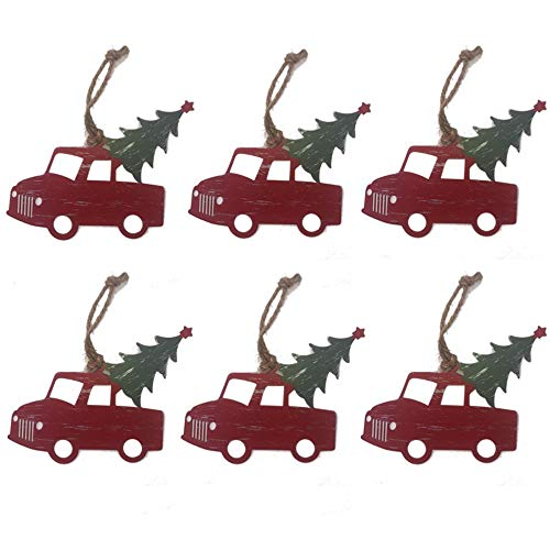 Old Red Pickup Truck Christmas Tree Ornaments - Set of 6 - Rustic and Retro