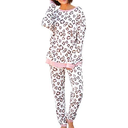 KaloryWee Ensemble De Pyjama Femme Léopard Noël Pas Cher Manche Longue à La Maison Jumpsuit Combinaison Imprimé Vêtement De Nuit Loungewear