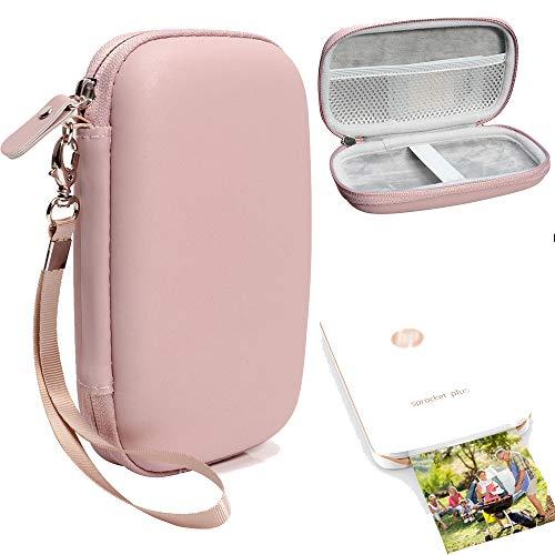 Capa protetora para impressora de foto portátil HP Sprocket Plus, bolso de tela para papel fotográfico e cabo, alça elástica para dispositivo seguro, alça de pulso removível, Matte Rose Gold