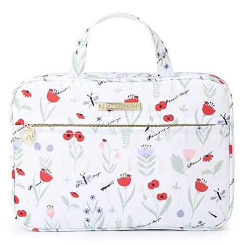 Tuscall Beauty Case da Viaggio Donna Borsa da Toilette da Appendere Borsetta da Bagno Grande per Valigia, Bagagli a mano, Outdoor (Fiore bianco)