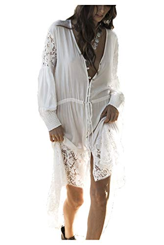 Wander Agio Womens Bikini Cover Ups Beach Casual Long Coverup Swimsuits Sea Bathing Suit Button Skirt Lace White 17