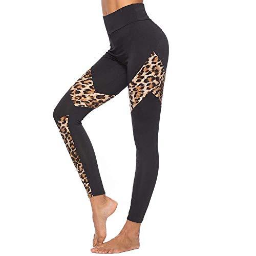 AHUIOPL Dames Leopard Leggings Sport Gym Running Yoga Atletische broek Sexy effen kleur Skinny Elasticiteit Sport Yoga broek