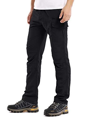 Men's Outdoor Cargo Hiking Pants Lightweight Waterproof Quick Dry Tactical Pants,6046,Black, 30