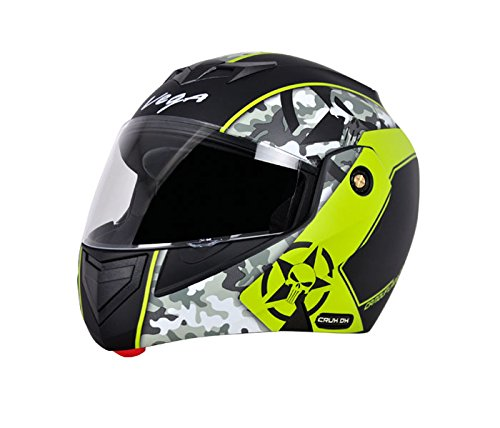 Vega Crux DX Full Face Helmet (Camouflage Dull Black and Neon Yellow,...