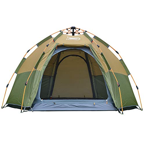 Family Party Tent HEIRAO Outdoor Dome Tent Gauze Net Breathable Sun Protection Tent 3-4 Person 4 Doors 4 Windows 4 Pergola Carrying Bag