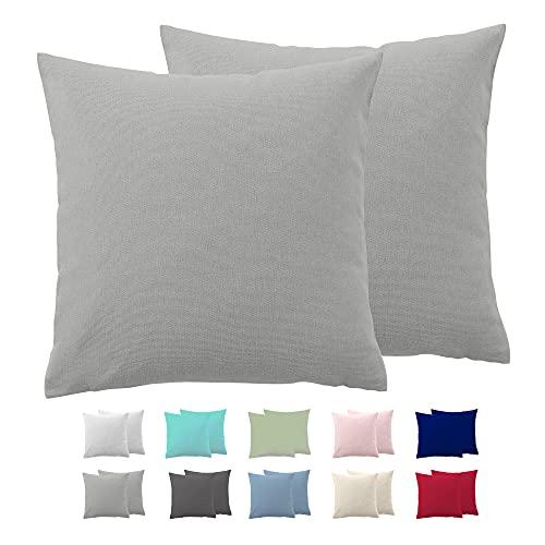 Comfy Wings Juego de 2 fundas de almohada de algodón de 60 x 60 cm, 100 % jersey de algodón para dormir de lado, ropa de cama, almohada de punto supersuave, funda de cojín, color gris claro