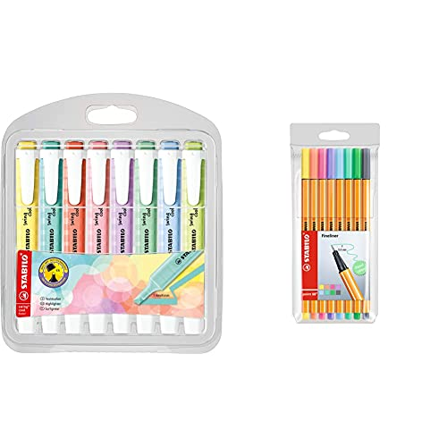 STABILO Marcador swing cool Pastel Edition Estuche con 8 colores + Rotulador puntafina point 88 Estuche con 8 colores pastel