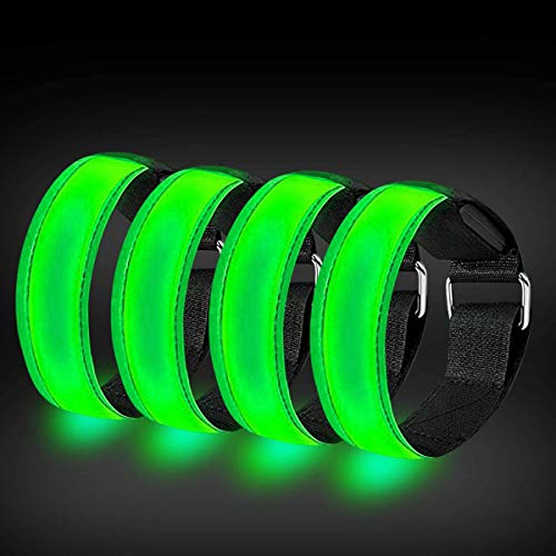 RIGRIN 4 Pack Rechargeable LED Armbands High Visibility Led Running Lights for Runners Reflective...