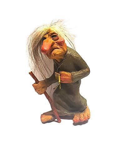 "Nyform Original Norwegian Bent Old Woman with Walking Stick Troll 7"" Norway"