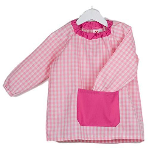KLOTTZ - Babi poncho sin botones guardería. Bata escolar cómoda de vestir perfecta para comedores y colegios. bebé-niños color: ROSA talla: 1