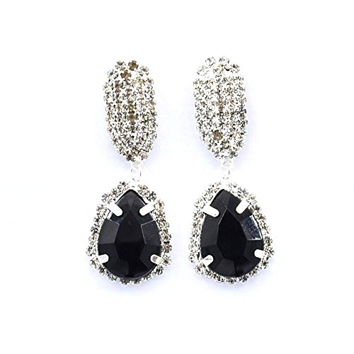 A Pair Of Fashion Gem Crystal Water Drop Earring Water Drill Glass Studs Fashion Sparkly earrings (Black)