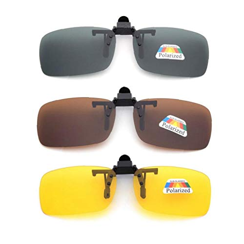 3 PCS Unisex UV400 gepolariseerde lens Frame-less rechthoek Lens Flip Up Clip on Prescription Zonnebril Glazen Night Vision Glasses